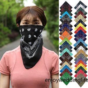 Cotton Cashew flower Amoeba square Paisley hip-hop Magic Scarf Bandana headband Mask Collars Muffler Scarf Party Mask