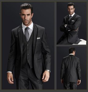 Charcoal Gray Men's Prom Normal Blazer Suit Groom Tuxedos Business Suits (Jacket+Pants+Vest+Tie)