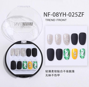 Lamemoria 30Pcs New Packaging with Fake Nails Diamond Nail Patch Wearable Waterproof Boxed DIY Nail False with Toolkit
