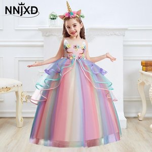 Kids Unicorn Dress for Girls Flower Appliques Ball Gown Little Girl Princess Dresses Elegant Party Costumes Children Clothing Q1203 Q1203