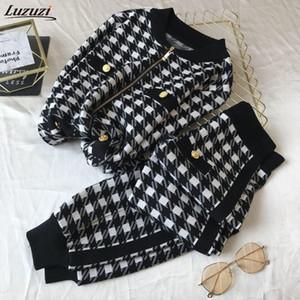 Luzuzi Kadınlar Vintage Düğme Plover Ekose Ziippper Örme Hırka + Lante Pantolon 2020 Sonbahar Winte 2 adet Set Eşofman Kıyafetler