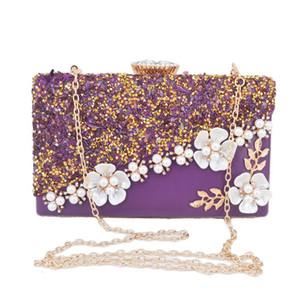 Catena borsa Purple Flower Designer frizione di cristallo Pietre partito borse goccia sera di trasporto borse a spalla Q1116
