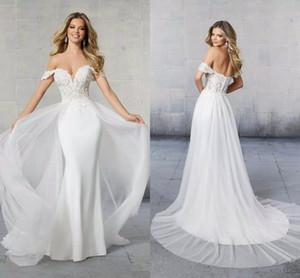 Off The Shoulder Mermaid Wedding Dresses With Detachable Train 2021 Modest Lace Appliqued Boho Garden Bridal Gowns Robes De Mariée AL7724