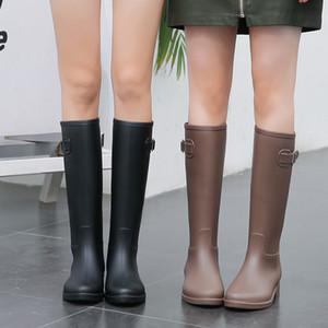 New Rubber Tall Rain for Women British Classic Waterproof Rainboots Ladies Wellies Wellington Matte Boots Q1216