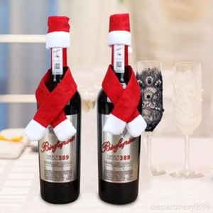 Table Ornament Wine Bottle Cover Cap and Scarf Christmas Xmas Home Party Decorations Free Shipping DHF658