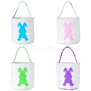 2021 DHL Free White Easter Egg Storage Basket Canvas Sequins Bunny Ear Bucket Creative Easter Gift Bag With Rabbit Tail Decoration 8 Styles