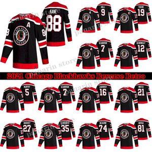 시카고 BlackHawks 저지 2020-21 Reverse Retro 19 Jonathan Toews 88 Patrick Kane 00 Clark Griswold 12 Alex Debrincat 2 Keith Hockey Jerseys