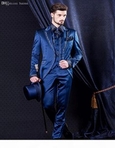 Wholesale-2016 Baroque style Groom Tuxedos Groomsman Suit Evening Suits Embroidery decorate man 's suit (Jacket+Pants+vest) Custom Made