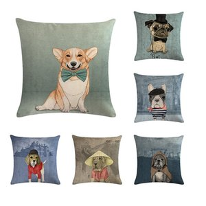 Cat Dog Animals Print Pillow Cushion Cover Case Linen Cotton Pillowcase for New Year Christmas Decoration