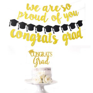 2019 Graduation Party Banner Decorations Congials Giad Banner&#34 we are so proud of you&#34 Graduation Hats Decorations VT0044