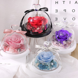 Preserved Valentines Day Gift Exclusive Rose In Glass Dome With Lights Dome Eternal Real Rose Mother's Day Gift Preserved Eternal Rose