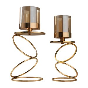 Gold Metal Candle Holders Wedding Decorations Modern Candle Holders Gold Centerpiece Photophore Verre Glass Candlestick zt035 201202