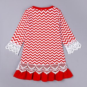 Baby Girl Christmas Dress Long Sleeves Party Santa Claus Wave Cosplay Costume Princess Dress With Bow