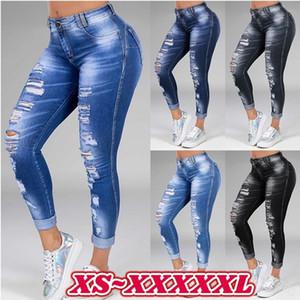 Kadınlar Yırtık Skinny Jeans 5XL 6XL Büyük Boy Streç Pantolon Seksi Kargo Moda Kot Kadın Denim Jean Kalem
