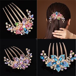Inlay Inlay Rhinestone Hair Comb Jewellery Women Flower Shaped Fashion Alloy Five Tooth Combs Hairpin Versatile Accessories 3 5ch J2