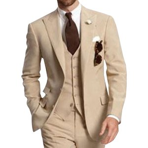 Beige Three Piece Business Party Best Men Suits Peaked Lapel Two Button Custom Made Wedding Groom Tuxedos Jacket Pants Vest 201202