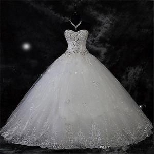 Sparkling Breading Crystal Dresses Wedding Dresses Pizzo Rhinestone Plus Size Robe de Mariage Ball Gown Dress Bridal Vestido De Novia
