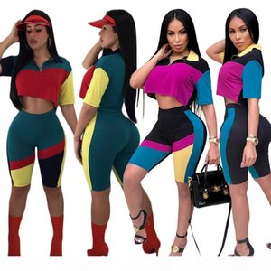 2018 Fashion Casual Womens Two Pieces Suits Black Red Patchwork Nightclub Tracksuit Sports Wear Crop Top And Legging Runway Outfit Hisimple