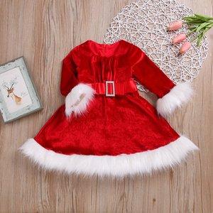 Christmas Red Dress Christmas Cosplay Costume White Furry Belt Belt Belt Girls Princess Dress Christmas Costume for Kids XD24248