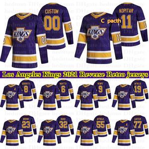 Los Angeles Kings Ters Retro Formalar 99 Gretzky 8 Doughty 11 Kopitar 32 Hızlı 77 Carter Özel Herhangi bir Numara Herhangi Bir Adı Hokey Jersey