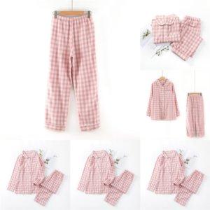 932 Men Plaid Pajamas Sets Leisure MUJI Homewear Long MUJI-style SLeeve V Neck Suits Pockets Long Pants Cozy Mens INCERUN Nightwear Sleepwea