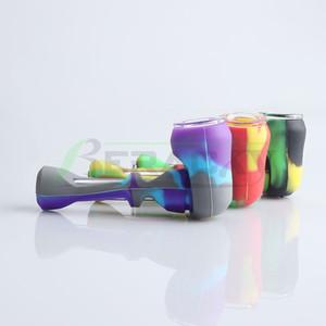 Beracky 4inch colher de silicone tubos de mão com tigela de vidro portátil grau de silicone tubulações de mão tubos de mão tubos de tabaco para plataformas petrolíferas