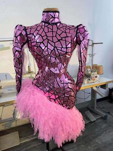 Сексуальный нерегулярный блеск розовый блесток лазерное искусственное зеркало кисточка платье женщины певец исполнитель модного этапа носить день рождения ночной клуб костюм