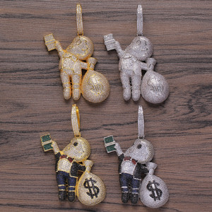 Small Size High Quality Brass CZ stones Cartoon Men Money Bag Necklace Hip hop pendant Jewelry Bling Bling Iced Out CN199 F1202