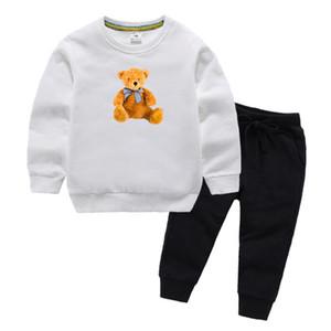 الدب شعار ماركة فاخرة مصمم الطفل الخريف الملابس مجموعة أطفال بوي فتاة طويلة الأكمام هوديي والسراويل 2PCS الدعاوى أزياء رياضية ملابس