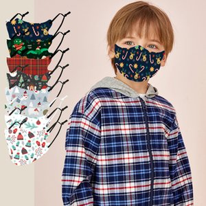 Adult Children Christmas Print Cotton Mask Breathable Reusable Face Covering Washable Cloth Fabric Mouth Protection Mask