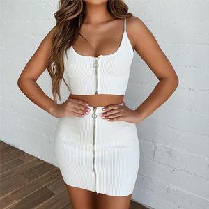2020 New Summer Women Suit Sexy Vogue White Solid Color Sling Backless Off Shoulder TankTop Mini Skirt Slim Sets