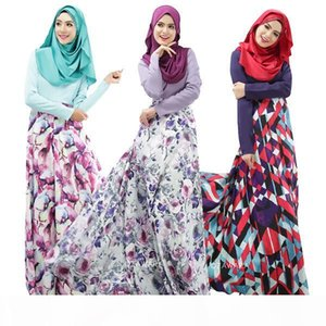 Fashion Muslim prayer service New Arab Women Robes Long Sleeves Islamic Ethnic Clothing Fashion Printing Casual Dress
