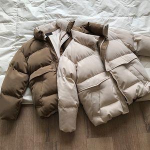 2021 Nouvelle couleur Contraste Femme Couleur épaisse Veste d'hiver Stand Collier Surdimensionné Femmes lâches