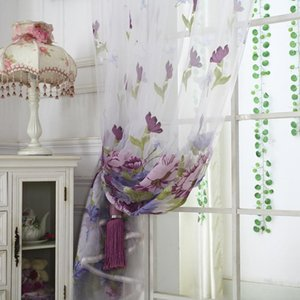 Curtain & Drapes Thin Floral Printed Curtains Clear Sheer Window Drape Tulle Panel Room Divider For Household Bedroom
