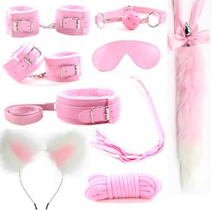 9Pcs Metal Fox Tail Butt Anal Plug Ear Headband Handcuffs Whip bdsm Bondage Set Erotic Sex Toys Products For Adult Woman Men Q1126