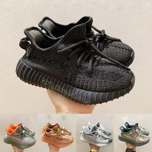 Con la caja cómoda Formadores infantil para niños Los niños V2 Formadores Negro estático reflectante Kanye West zapatos corrientes de las zapatillas de deporte muchacha de los muchachos Niños