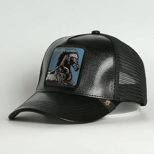 Costume 5 Painel Animal Animal Preto Pu Cavalo Animal Bordado Malha Trucker Bonés para ambos homens Cap Women Hat