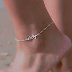 Benutzerdefinierte Name Fußkettchen Edelstahl Personalisierte Knöchelschmetterling Armband Beinkette Knöchel Handgemachte anfängliche Anklet Beach Schmuck T200901