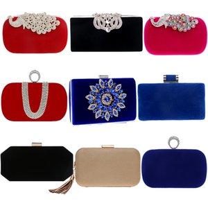 Velvet Luxury Femmes Sacs Soirée Sacs Strass Fleur Petite Jour Embrayage Party Diamonds Lady Robe Épaule Chaîne Sacs à main pour Purse Q1230