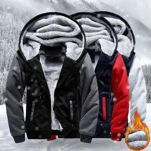 Warm Men Jackets Autumn Winter Casual Fleece Coats Mens Bomber Jacket Hoodies Fashion Hooded Male Outwear Slim Fit Hoody 3XL 4XL