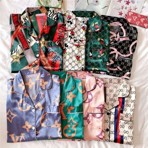 Silk Satin Couple Pajamas Summer Pijama Hombre Mens PJs Set 2 1Pcss Solid Flower Printed Sleepwear Sleep&Lounge Long Sleeve Leisure Wear #QA59654654