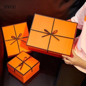 Luxury Large Orange Silk Bow Ribbon Gift Box Party Wedding Wallet Scarf Bestselling Cardboard Packaging Decorative Gift Box