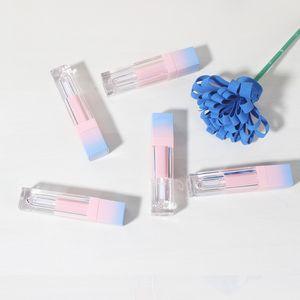 200 unids / lote cuadrado labio vacío tubo de brillo degradado azul plástico elegante lápiz labial líquido recipientes cosméticos 5ml muestra marítimo marítimo FWE3028