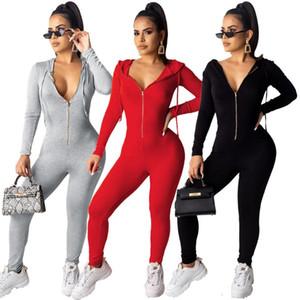FNoce Women's Tutesuitsuits 2020 Inverno New Fashion Casual Sexy Sportwear Solid Solid Manica Lunga con cappuccio Stretch Stretch SurtSuits
