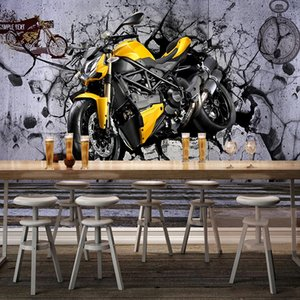 Custom Mural Wallpaper 3D Stereo Yellow Motorcycle Cool Broken Wall Fresco Retro Fashion Restaurant Cafe Background Wall Papers
