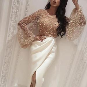 2020 Autumn Women Elegant Formal Gown Maxi Dress Female Stylish Long Party Dress Beaded Embellished Mesh Patchwork Slit