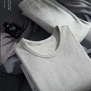 Men's thermal underwear Cotton Winter Round Neck Warm Ultra-Soft Solid Color Thermal Underwear Long Johns Set Men`s Pajamas