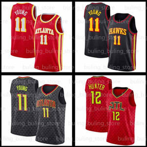 TRAE 11 Молодые майки DEANDRE De'Andre 12 Hunter Spud 4 Webb 2020 2021 New AtlantaЯстребыВинс 15 Картер Красный Черный Баскетбол