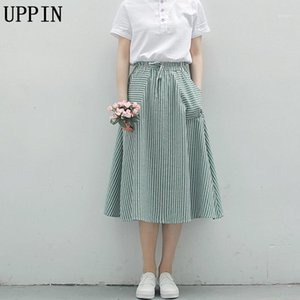 Uppin 2018 New Spring Summer Women Stripe Faldas Casual Flojo Algodón Lino Faldas Mujer Vintage Elegir Midi Female1