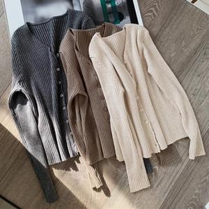 pulsanti AOSSVIAO sexy maglia maglione donne del cardigan Slim costine autunno inverno maglioni moda femminile più il formato maglieria 2020